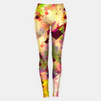 Miniatur geometric square pixel pattern abstract in pink yellow purple Leggings, Live Heroes