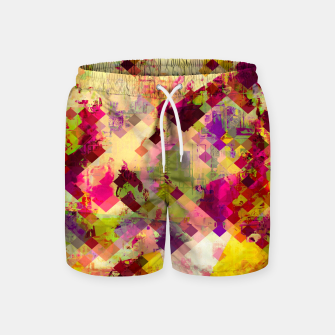 Miniatur geometric square pixel pattern abstract in pink yellow purple Swim Shorts, Live Heroes