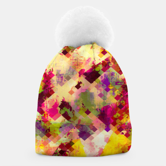 Miniaturka geometric square pixel pattern abstract in pink yellow purple Beanie, Live Heroes