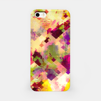 Miniatur geometric square pixel pattern abstract in pink yellow purple iPhone Case, Live Heroes