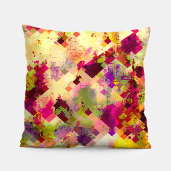 Miniaturka geometric square pixel pattern abstract in pink yellow purple Pillow, Live Heroes