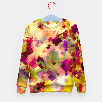 Miniatur geometric square pixel pattern abstract in pink yellow purple Kid's sweater, Live Heroes