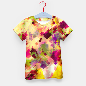Miniatur geometric square pixel pattern abstract in pink yellow purple Kid's t-shirt, Live Heroes