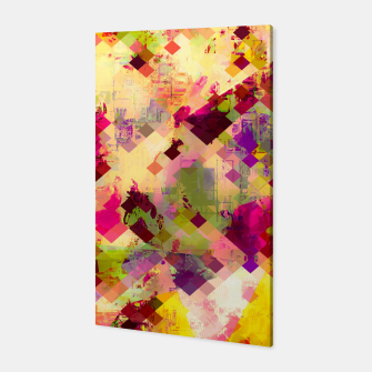 Miniaturka geometric square pixel pattern abstract in pink yellow purple Canvas, Live Heroes