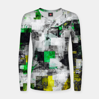 Miniatur vintage psychedelic geometric square pixel pattern abstract in green yellow black Women sweater, Live Heroes