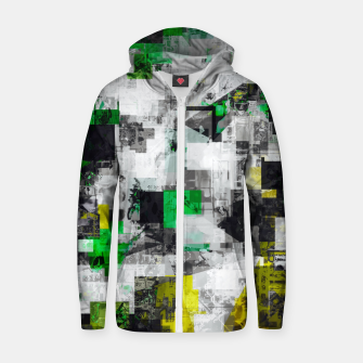 Miniaturka vintage psychedelic geometric square pixel pattern abstract in green yellow black Zip up hoodie, Live Heroes