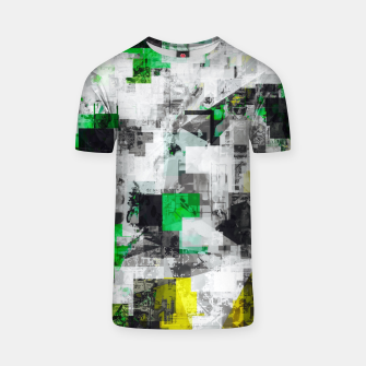 Miniaturka vintage psychedelic geometric square pixel pattern abstract in green yellow black T-shirt, Live Heroes