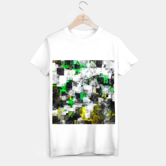 Miniatur vintage psychedelic geometric square pixel pattern abstract in green yellow black T-shirt regular, Live Heroes