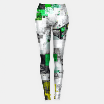 Miniatur vintage psychedelic geometric square pixel pattern abstract in green yellow black Leggings, Live Heroes
