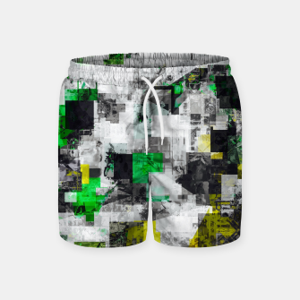 Miniatur vintage psychedelic geometric square pixel pattern abstract in green yellow black Swim Shorts, Live Heroes