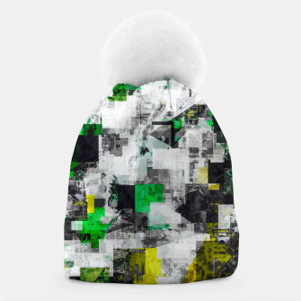 Miniaturka vintage psychedelic geometric square pixel pattern abstract in green yellow black Beanie, Live Heroes
