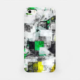 Miniatur vintage psychedelic geometric square pixel pattern abstract in green yellow black iPhone Case, Live Heroes