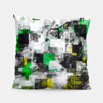 Miniaturka vintage psychedelic geometric square pixel pattern abstract in green yellow black Pillow, Live Heroes