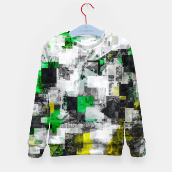 Miniatur vintage psychedelic geometric square pixel pattern abstract in green yellow black Kid's sweater, Live Heroes
