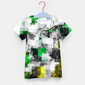 Miniatur vintage psychedelic geometric square pixel pattern abstract in green yellow black Kid's t-shirt, Live Heroes