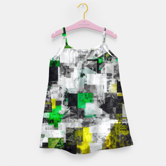 Miniaturka vintage psychedelic geometric square pixel pattern abstract in green yellow black Girl's dress, Live Heroes