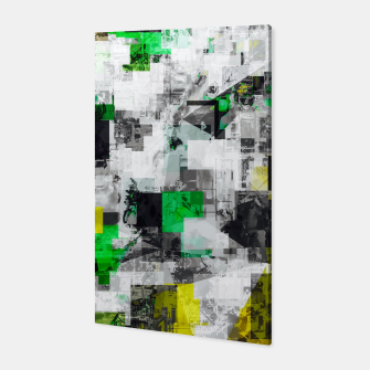Miniaturka vintage psychedelic geometric square pixel pattern abstract in green yellow black Canvas, Live Heroes