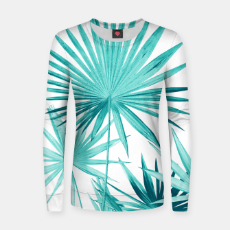 Miniatur Fan Palm Leaves Jungle #3 #tropical #decor #art Frauen sweatshirt, Live Heroes