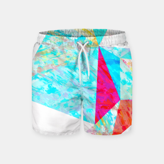 Thumbnail image of psychedelic geometric triangle polygon pattern abstract in blue pink yellow orange Swim Shorts, Live Heroes