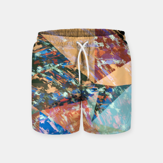 Thumbnail image of vintage psychedelic geometric triangle polygon pattern abstract in brown blue green Swim Shorts, Live Heroes