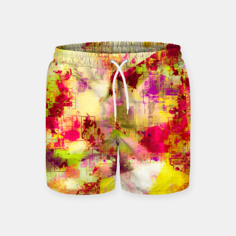Thumbnail image of psychedelic geometric triangle polygon pattern abstract background in pink yellow red green Swim Shorts, Live Heroes