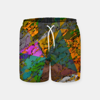 Thumbnail image of psychedelic geometric triangle pattern abstract with painting abstract background in orange green pink Swim Shorts, Live Heroes