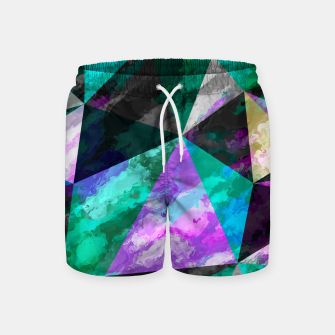 Thumbnail image of psychedelic geometric triangle pattern abstract with painting abstract background pink and green Swim Shorts, Live Heroes