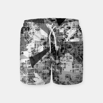 Thumbnail image of psychedelic geometric triangle polygon pattern abstract background in black and white Swim Shorts, Live Heroes