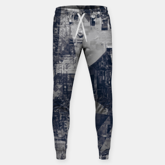 Thumbnail image of vintage psychedelic geometric triangle polygon pattern abstract background in black and white Sweatpants, Live Heroes