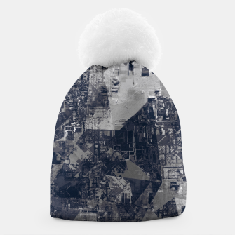 Thumbnail image of vintage psychedelic geometric triangle polygon pattern abstract background in black and white Beanie, Live Heroes