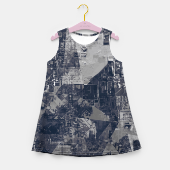 Thumbnail image of vintage psychedelic geometric triangle polygon pattern abstract background in black and white Girl's summer dress, Live Heroes
