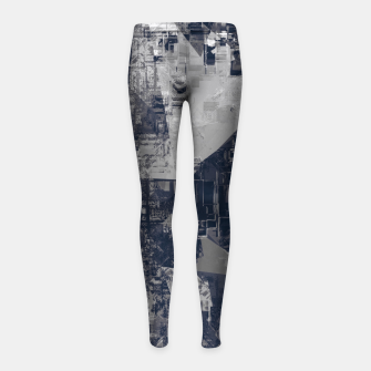 Thumbnail image of vintage psychedelic geometric triangle polygon pattern abstract background in black and white Girl's leggings, Live Heroes