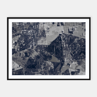 Thumbnail image of vintage psychedelic geometric triangle polygon pattern abstract background in black and white Framed poster, Live Heroes