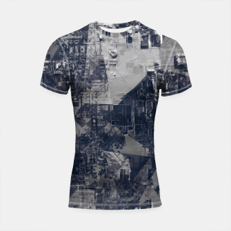 Thumbnail image of vintage psychedelic geometric triangle polygon pattern abstract background in black and white Shortsleeve rashguard, Live Heroes