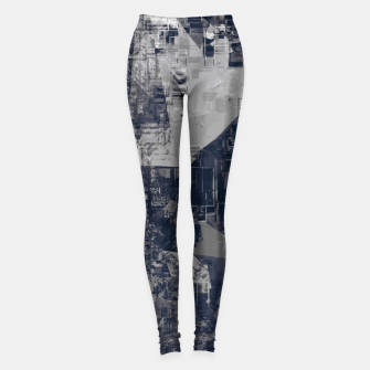 Thumbnail image of vintage psychedelic geometric triangle polygon pattern abstract background in black and white Leggings, Live Heroes