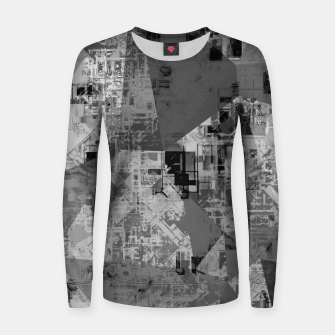 Thumbnail image of psychedelic geometric triangle polygon abstract pattern background in black and white Women sweater, Live Heroes