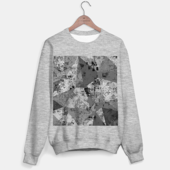 Thumbnail image of psychedelic geometric triangle polygon abstract pattern background in black and white Sweater regular, Live Heroes