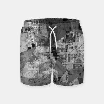 Thumbnail image of psychedelic geometric triangle polygon abstract pattern background in black and white Swim Shorts, Live Heroes