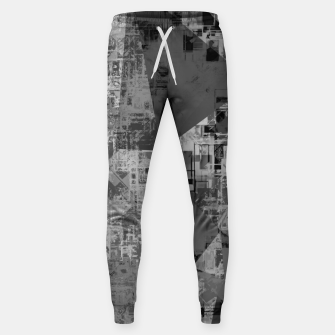 Miniature de image de psychedelic geometric triangle polygon abstract pattern background in black and white Sweatpants, Live Heroes
