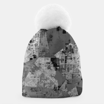 Miniature de image de psychedelic geometric triangle polygon abstract pattern background in black and white Beanie, Live Heroes