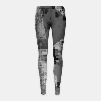 Miniature de image de psychedelic geometric triangle polygon abstract pattern background in black and white Girl's leggings, Live Heroes