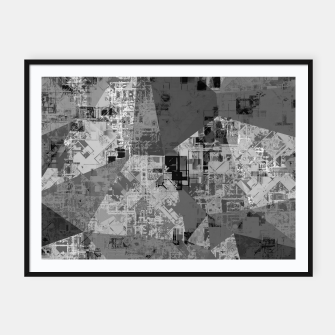 Miniature de image de psychedelic geometric triangle polygon abstract pattern background in black and white Framed poster, Live Heroes
