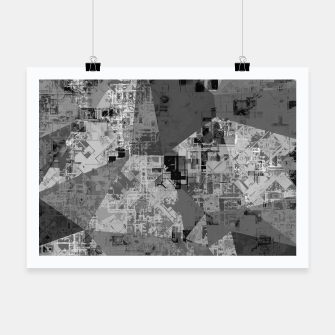 Miniature de image de psychedelic geometric triangle polygon abstract pattern background in black and white Poster, Live Heroes