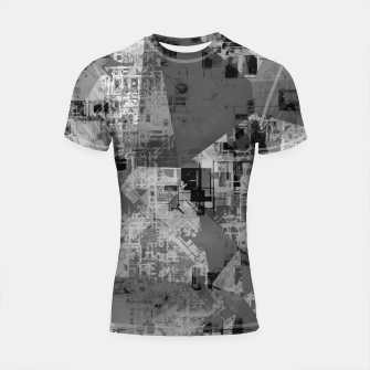 Miniature de image de psychedelic geometric triangle polygon abstract pattern background in black and white Shortsleeve rashguard, Live Heroes