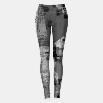 Miniature de image de psychedelic geometric triangle polygon abstract pattern background in black and white Leggings, Live Heroes