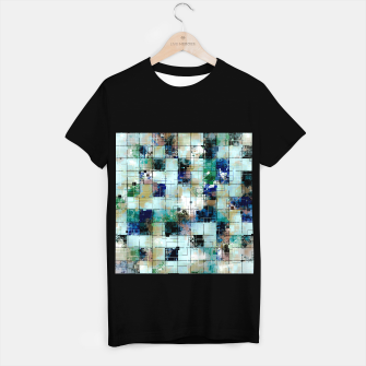 Thumbnail image of psychedelic geometric square pixel pattern abstract background in green blue brown T-shirt regular, Live Heroes