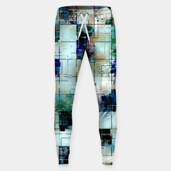 Thumbnail image of psychedelic geometric square pixel pattern abstract background in green blue brown Sweatpants, Live Heroes