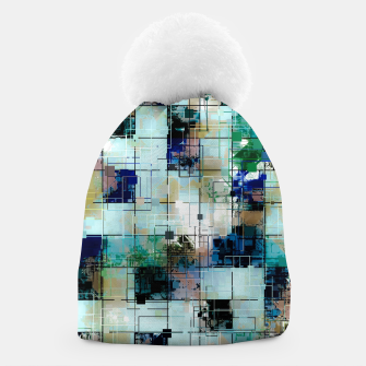 Thumbnail image of psychedelic geometric square pixel pattern abstract background in green blue brown Beanie, Live Heroes