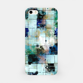Thumbnail image of psychedelic geometric square pixel pattern abstract background in green blue brown iPhone Case, Live Heroes