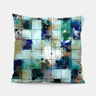 Thumbnail image of psychedelic geometric square pixel pattern abstract background in green blue brown Pillow, Live Heroes